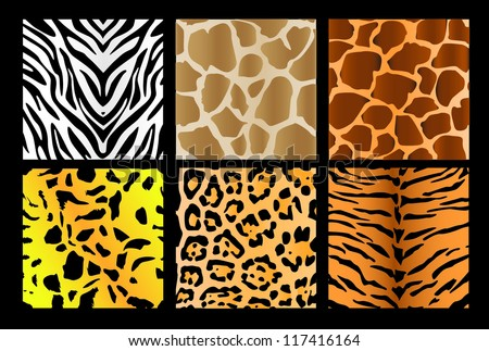 Six kind of skin of animals - stock vector