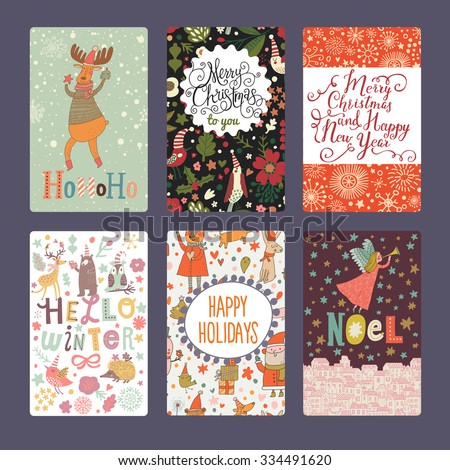 Six lovely Christmas and New Year cards in bright colors. Holiday set with angel, Santa Claus, deers, birds, bears, owls and other animals.  - stock vector