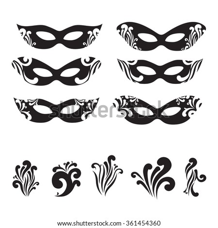 Six Masquerade mask silhouettes with decorative elements - stock vector