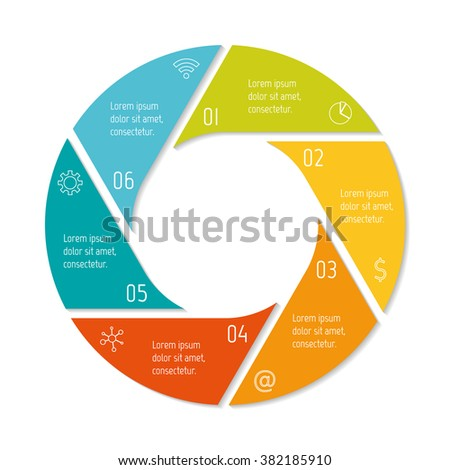 Six options isolated infographic banner. Circular workflow layout. Number banner template for diagram, presentation or chart. Round progress steps for tutorial. Business concept sequence banner. - stock vector