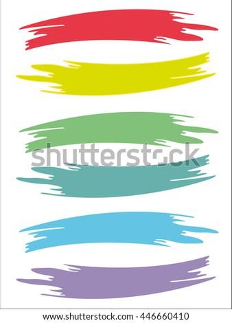 six pale colored brushstrokes retro - stock vector