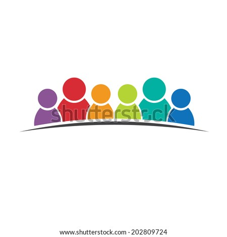 Six people friends. Group of persons. Vector icon - stock vector