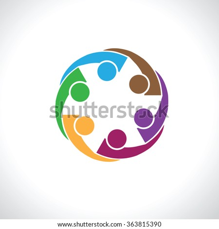 six people icon. people friends logo concept vector icon. this icon also represents friendship, partnership cooperation unity, - stock vector