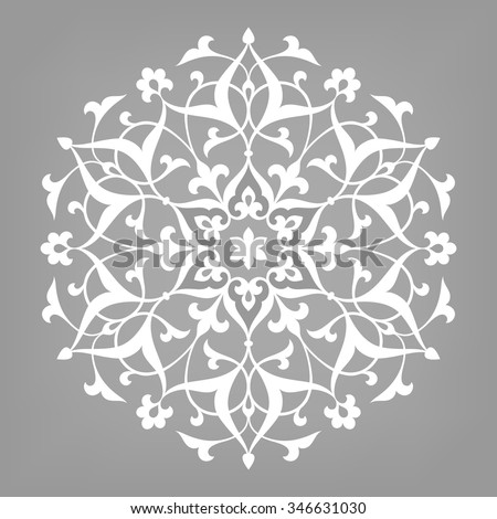 Six pointed circular abstract floral pattern. Mandala. Round vector ornament in arabic style. Arabesque. - stock vector