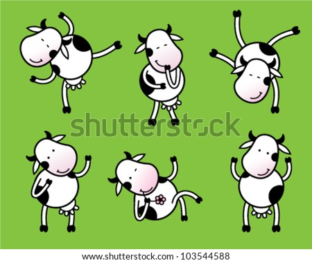 Six poses of dancing cow