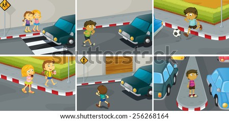 six scenes of do and don't on the road - stock vector