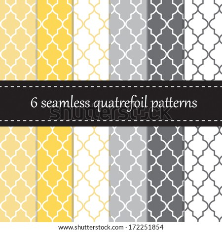 Six seamless geometric patterns with quatrefoil design, in yellow and grey colors - stock vector