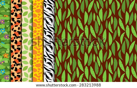 Six Seamless, Tileable Jungle or Zoo Animal Themed Vector Background Patterns - stock vector