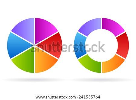 Six segments cycle diagram - stock vector