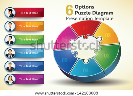Six sided presentation template with title text and business people portraits, used for infographic designs - stock vector