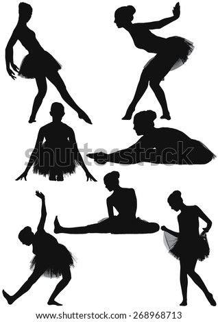 Six silhouette collection of a female modern contemporary ballet dancer