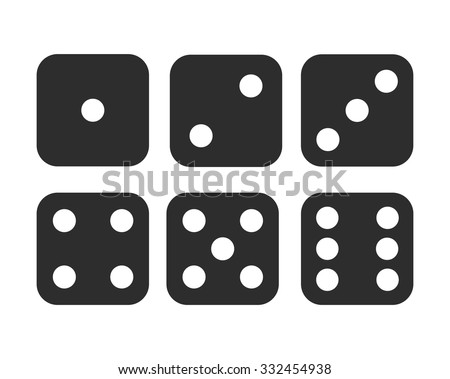 Six simple dice icons, modern rounded shape. Minimalist vector icons. - stock vector