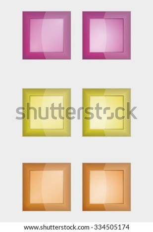 six square badges or buttons with violet, yellow and orange color, difference between left and right button is in middle part - the left middle part imitates convex and the right concave panel - stock vector