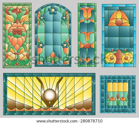 Six stained glass windows in blue style