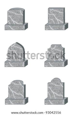 six standard granite gravestone or headstone shapes - stock vector