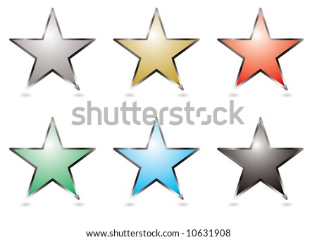 Six star shaped buttons with a silver bevel - stock vector