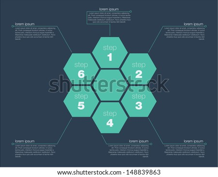 Six step success concept. Flat design in editable vector format
