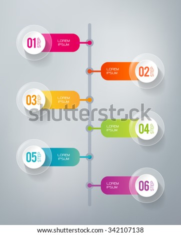 Six steps infographics - can illustrate a strategy, workflow or a timeline.