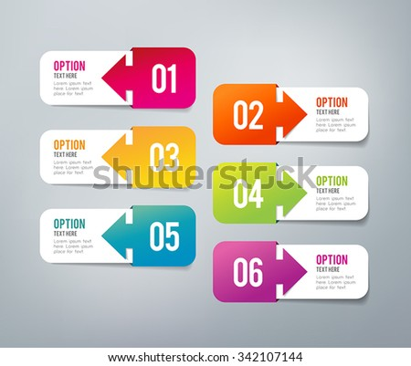 Six steps infographics - can illustrate a strategy, workflow or a timeline. - stock vector