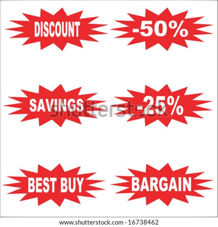 Six sticker style sign for bargains - stock vector
