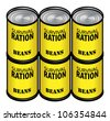 Six tins of beans - good survival rations! - stock vector