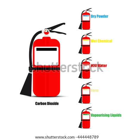 Six types fire extinguisher on white stock vector 444448789 six types of fire extinguisher on white background vector design thecheapjerseys