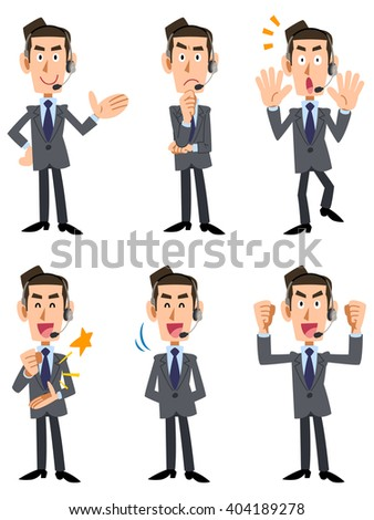 Six types of gesture and facial expression of the man of suit wearing wearing the headset