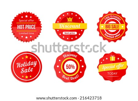 Six Various Red Discount Sale Tag Icon Advertisements - stock vector
