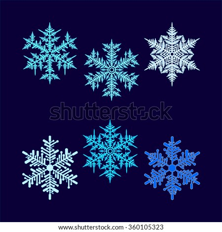 Six vector beautiful snowflakes on a dark blue background.