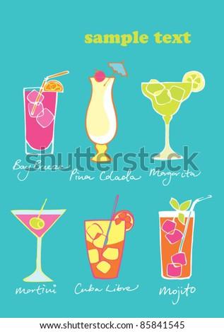 Six vector cocktails - stock vector