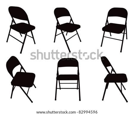 Six Vector Fold Out Chair Silhouettes. - stock vector