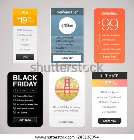 Six Vector Pricing Tables for Web - stock vector