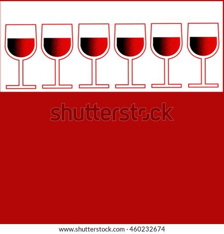Six vector red flat minimalist glass of wine on a white background at the top of the image with a red background for text.