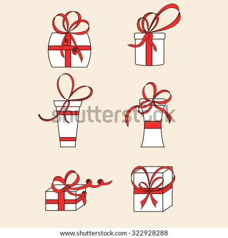 Six white gift boxes. Red bows and ribbons. Design for greeting card, gift card, site, banner, advertising. Hand-drawn. Vector illustration. - stock vector