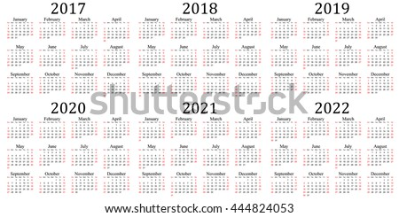 Six year calendar - 2017, 2018, 2019, 2020, 2021 and 2022 in white background