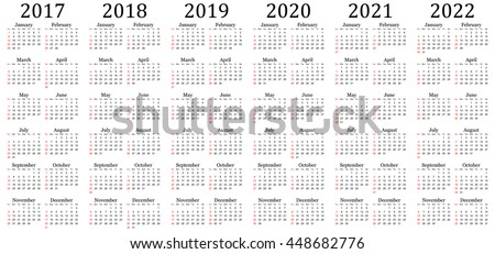 six year vector calendar 2017 2018 2019 2020 2021 and 2022