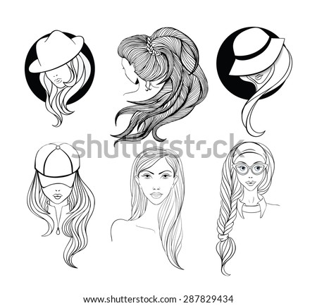 Six young girls  with long hair made in sketch doodling style. Girl - nerd with cat-eyes style glasses, lady in the baseball cap, and two women in vintage hats  - stock vector
