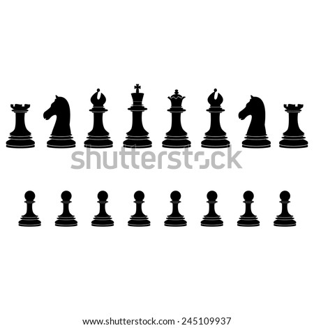 Sixteen black chess pieces vector icon set - with king, queen, bishop, knight, rook, pawn