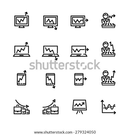 sixteen black outline market icons isolated on white - stock vector