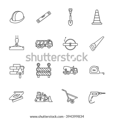 sixteen under construction icons - stock vector