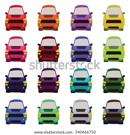 Sixteen Vehicles Front View. Car icons set. Digital vector flat illustration. - stock vector