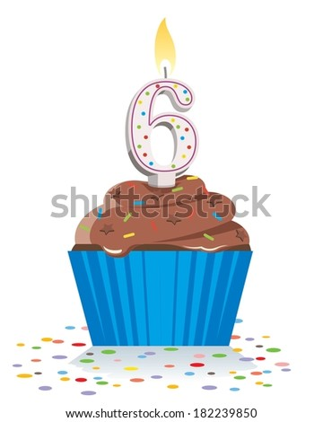 sixth birthday cupcake with lit candle in shape of number six  - stock vector