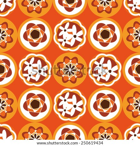 Sixties / seventies floral pattern in bright retro color palette - stock vector