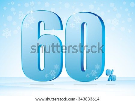 sixty percent on snow background - stock vector