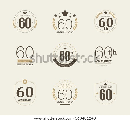 Sixty years anniversary celebration logotype. 60th anniversary logo collection. - stock vector
