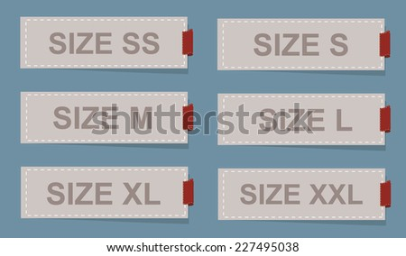 Size clothing labels. Vector.  - stock vector