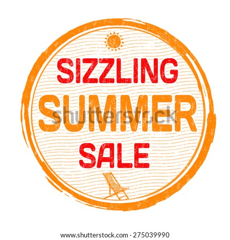 Sizzling summer sale grunge rubber stamp on white background, vector illustration - stock vector