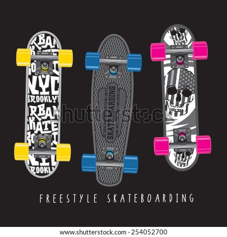 Skate board typography, t-shirt graphics, vectors, skull  - stock vector