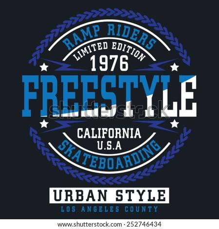 Skate board typography, t-shirt graphics , vectors, sport  - stock vector
