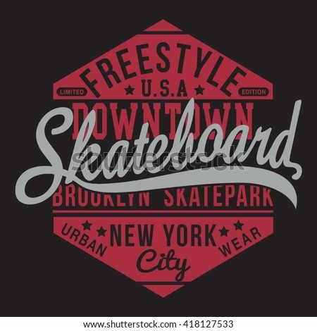 Skate free style typography, t-shirt graphics, vectors